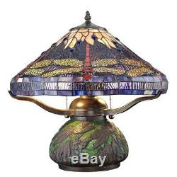 14 in. Bronze Table Lamp with Mosaic Base Stained Glass Shade Pull Chains Display