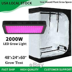 2000W Led Grow Light Veg Flower Plant +4'x2' Hydroponic Indoor Grow Tent Kit