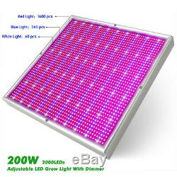 200W Dimmable LED Grow Light Hydroponic Full Spectrum Veg Bloom Plant Lamp Panel