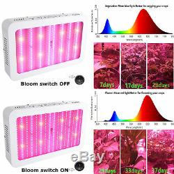 3000W LED Grow Light Dual Full Spectrum Medical Plants Bloom Switch Flower New