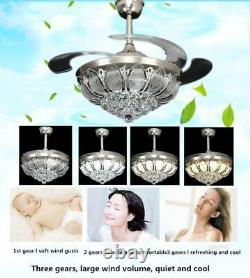 42 Chandelier Ceiling Fan Light Invisible Blade Crystal LED With Remote Control