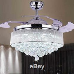 42 LED Remote Control Crystal Invisible Ceiling Fan Light Chandelier