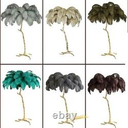80cm Nordic Ostrich Feather LED Floor Lamp Living Room Stand light indoor Modern