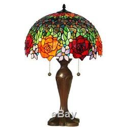 Amora Lighting Table Lamp 23 Inch Pull Chain Tear Resistant Tiffany Style Roses