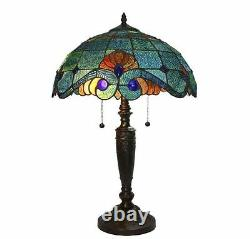 Blue Vintage Tiffany Style Table Lamp Bronze Base Art Glass Stained Shade Light