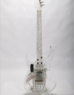 Colorful Led Light Acrylic Body Electric Guitar Abalone Flower Inlay on Maple