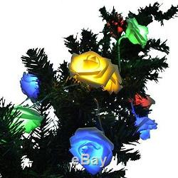 Colorful Rose Flowers String Light/ 20 Led Bulbs Battery Operated/ Fairy Lights/