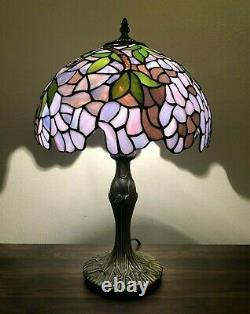 Enjoy Table Lamp Stained Glass Purple Flower Antique Vintage 19H12W