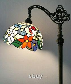 Enjoy Tiffany Style Floor Lamp Hummingbird Flower Stained Glass Antique 62.5H