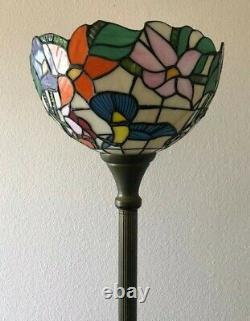 Enjoy Tiffany Style Floor Lamp Hummingbird Flower Stained Glass Antique 66H12W