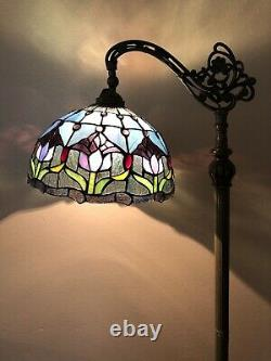 Enjoy Tiffany Style Floor Lamp Tulip Flower Stained Glass Vintage 62.5H