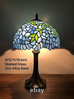 Enjoy Tiffany Style Table Lamp Blue Leaf Stained Glass Vintage Antique 19H12W