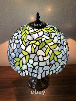 Enjoy Tiffany-Style Table Lamp Blue Leaf Stained Glass Vintage Antique 19H12W