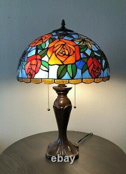 Enjoy Tiffany Style Table Lamp Blue Stained Glass Rose Flowers Vintage W16H24