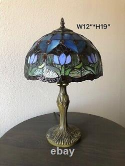 Enjoy Tiffany-Style Table Lamp Blue Stained Glass Tulip Flowers Vintage 19H12W