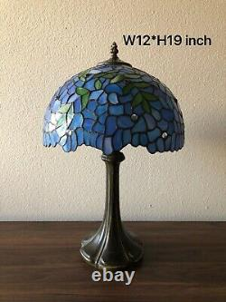 Enjoy Tiffany-Style Table Lamp Leaf Blue Stained Glass Vintage 19H12W