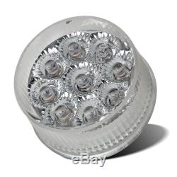 FIVE 2 Round Led Marker Light Clear/Red 9-diode-pattern w Flower Petal Look