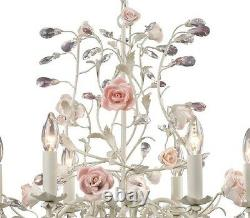 Heritage French Country Cottage Rose Porcelain Chandelier Vintage Chic 6 Light