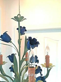 ITALY TOLE STYLE COLOR BLUE FLOWERS green finish 5 light Chandelier PLUGIN OP