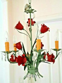 ITALY TOLE STYLE COLOR RED FLOWERS green finish 5light Chandelier PLUGIN OpTiON