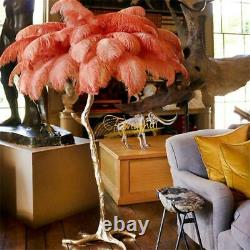 LED Ostrich Feather Floor Stand Light Table Lamps Copper Home Interior Lighting