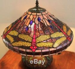 NB Tiffany Style Dragonfly Lamp Cut Stained Glass Reading Table Desk Mosaic Base