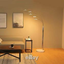New LED Floor Lamp with 5 Curving Lamp Heads & Marble Base in Chrome Finish sw