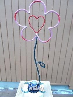 Recycled Metal Art Sculpture Hugh Flower with LED light 44 tall