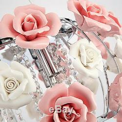 Romantic Pink Rose Flower Chandelier Light Crystal Pendant Lamp Ceiling Fixture