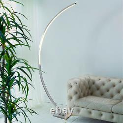 Searchlight Colton LED Curved Floor Satin Silver Standard Standing Lamp Light