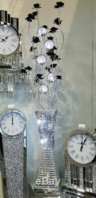 Silver Black Swirled Chrome Metal Wire LED Floor Standing Floral Flower Lamp