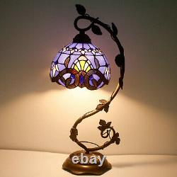 Stained Glass Reading Lamp Blue Purple Baroque Style Table Desk Bedroom Light