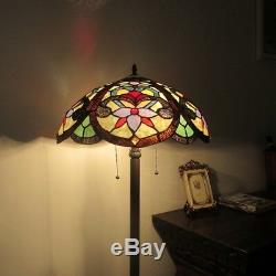 Tiffany Floor Reading Lamp Vintage Handmade Light Victorian Look Stained Glass