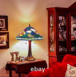 Tiffany Style Stained Glass Blue and Green Water Lily Lamp Set 16 Shade New