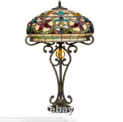 Tiffany Style Stained Glass Multicolor Floral Table Lamp 16 Shade New